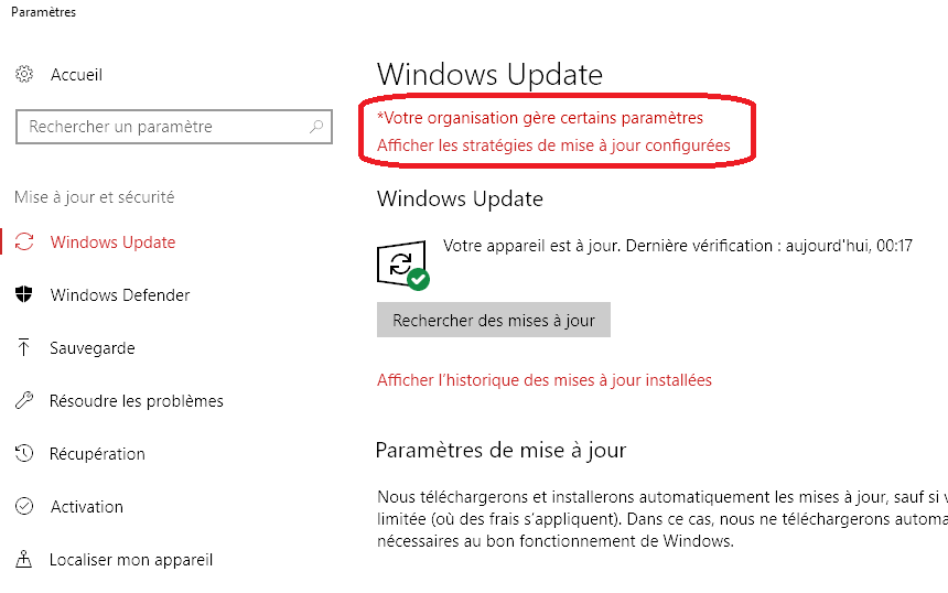 Mediacare désactiver mises à jour Windows update Windows 10 Pro Chilly-Mazarin
