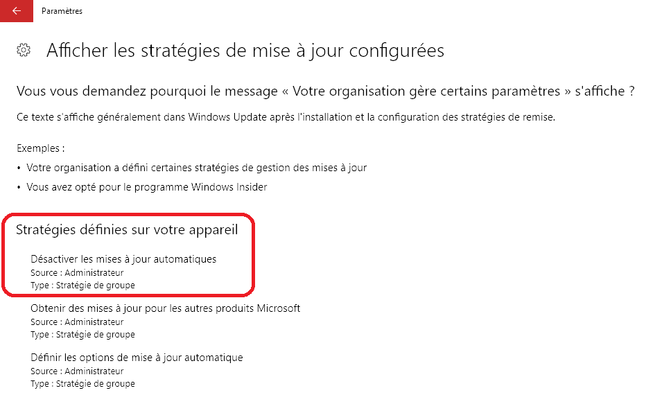 Mediacare désactiver mises à jour Windows update Windows 10 Pro Longjumeau