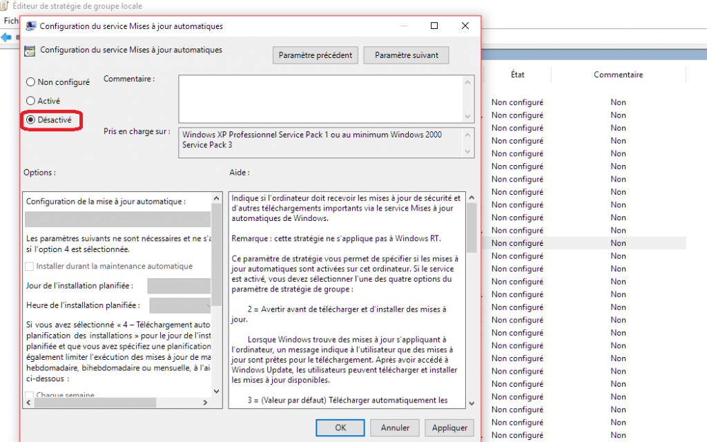 Mediacare désactiver mises à jour Windows 10 Pro Gometz-la-ville